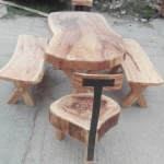 slab table, benches and chair